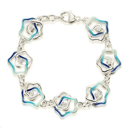Sheila Fleet - ESBL195 Tidal Islands Bracelet (enamel shown in Peacock)
