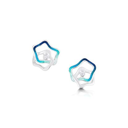Sheila Fleet - ESE195 Tidal Islands Stud Earrings (enamel shown in Peacock)