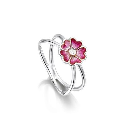 Sheila Fleet - ESR140 Primula Scotica Ring (enamel shown is Hot Pink)