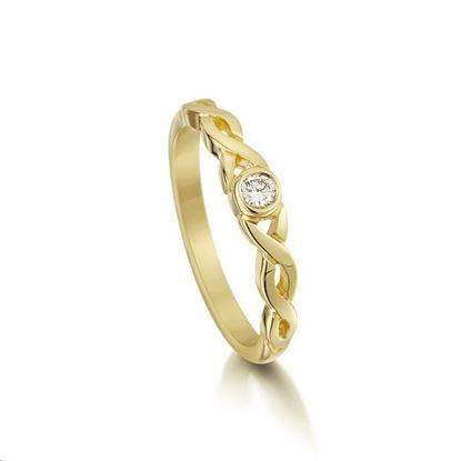 Sheila Fleet - SR173 Celtic Ring (shown in 9ct gold with diamond)