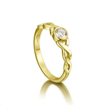 Sheila Fleet - SR175 Celtic Ring (shown in 9ct gold with diamond)