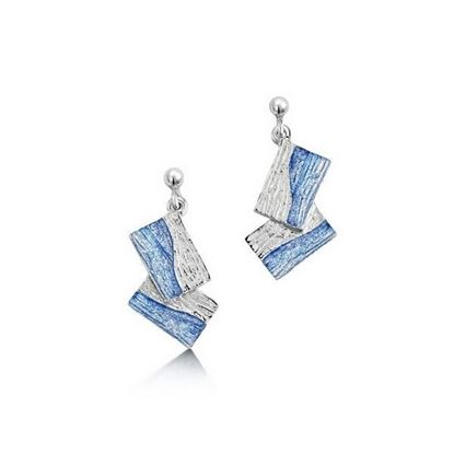 Sheila Fleet - EEX137 Flagstone Earrings (enamel colour shown in Slate)