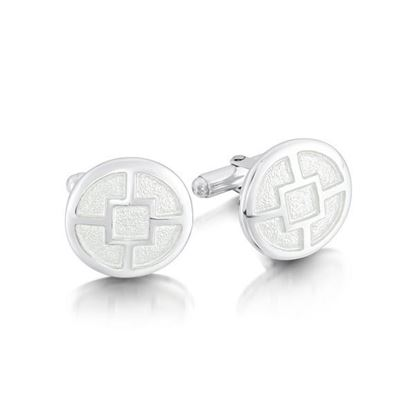 Sheila Fleet - ECL91 Minehowe Cufflinks (enamel colour shown in Crystal)
