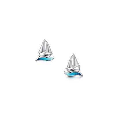 Sheila Fleet - EE0250 Orkney Yole Earrings (enamel colour shown in Tempest) - Silver