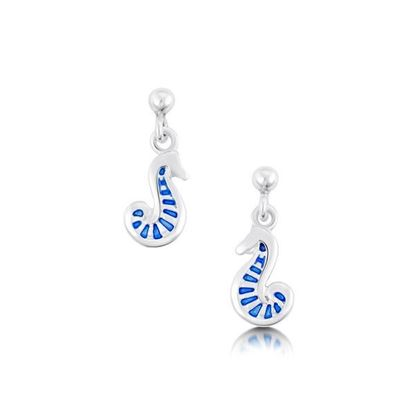 Sheila Fleet - EE81 Pictish Seahorse Earrings (enamel colour shown in Sapphire Blue)
