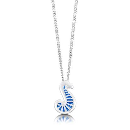 Sheila Fleet - EP81 Pictish Seahorse Pendant (enamel colour shown in Sapphire Blue)