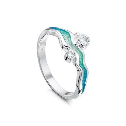 Sheila Fleet - ESR88 River Ripples Ring (enamel colour shown in Shallows)