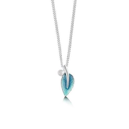 Sheila Fleet - ESP157 Rowan Pendant with Moonstone (enamel colour shown in Sage) - Silver