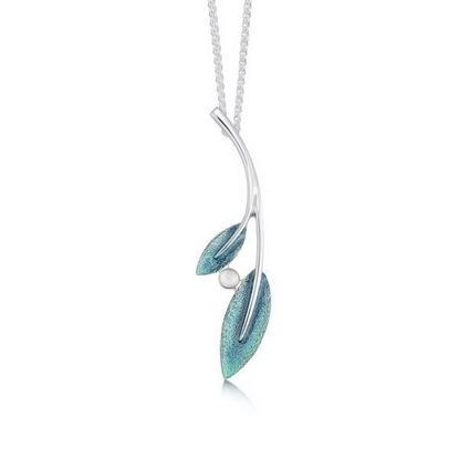 Sheila Fleet - ESPX159 Rowan Pendant with Moonstone (enamel colour shown in Sage)