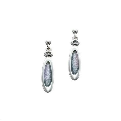 Sheila Fleet - EE166 Shoreline Pebble Earrings (enamel colour shown in Pearl Grey) - Silver