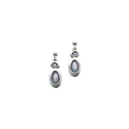 Sheila Fleet - EE0166 Shoreline Pebble Earrings (enamel colour shown in Pearl Grey) - Silver