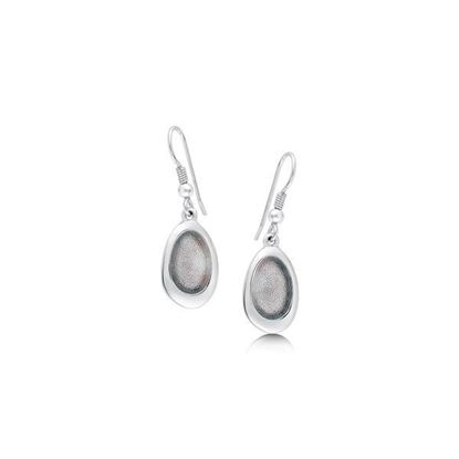Sheila Fleet - EE167 Shoreline Pebble Earrings (enamel colour shown in Pearl Grey) - Silver