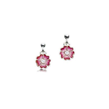 Sheila Fleet - ESEXX139 Primula Scotica Earrings (enamel shown is Hot Pink)
