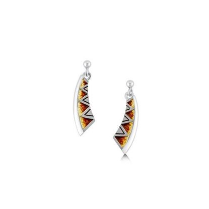 Sheila Fleet - EE75 Skara Shard Earrings (enamel colour shown in Fire)