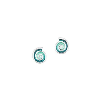Sheila Fleet - EEXX79 Skara Spiral Earrings (enamel colour shown in Sea Green)
