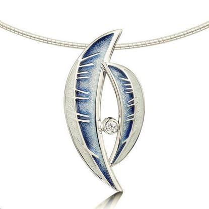Sheila Fleet - ESNXXX101 Skyran Necklet (enamel colour in Twilight with CZ stone)