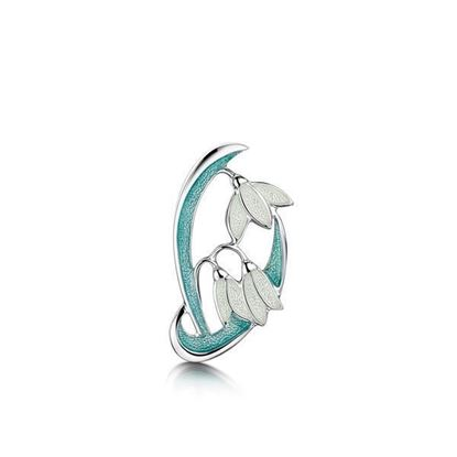 Sheila Fleet - EB230 Snowdrop Brooch (enamel shown in Leaf)