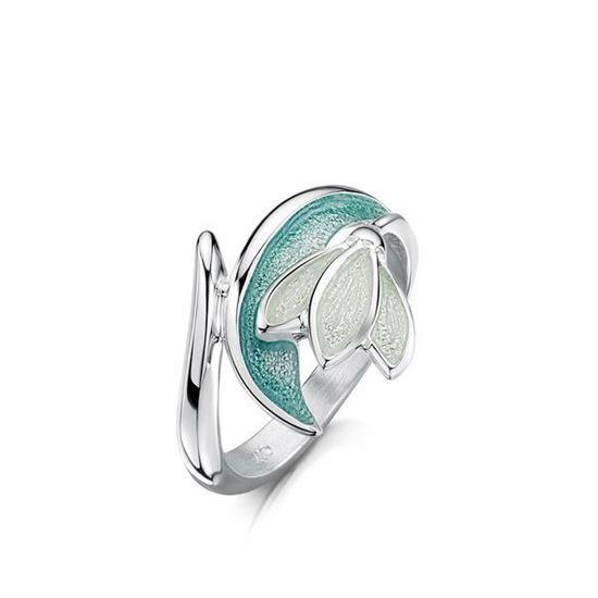 15f9033b6 Sheila Fleet - ER228 Snowdrop Ring (enamel shown in Leaf)