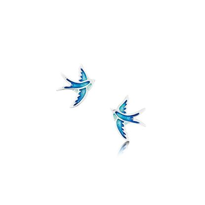 Sheila Fleet - EE00197 Swallows Earrings (enamel shown in Summer Blue)