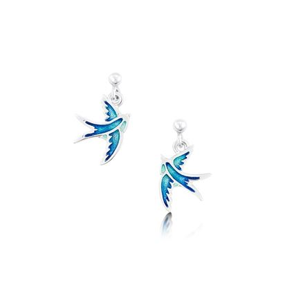 Sheila Fleet - EE0197 Swallows Earrings (enamel shown in Summer Blue)