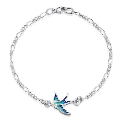 Sheila Fleet - EBL0197 Swallows Bracelet (enamel shown in Summer Blue)