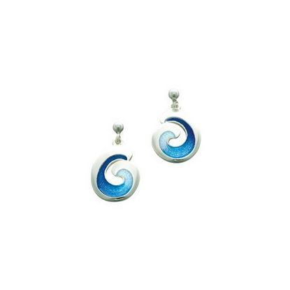 Sheila Fleet - EEX135 Wave Earrings (enamel shown in Ocean Light)