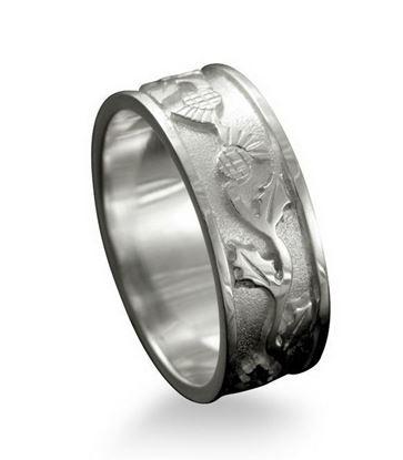 Shetland Jewellery - R132 Thistle Ring - Silver