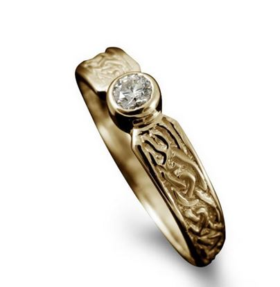 Shetland Jewellery - R128 Celtic Diamond Ring - 9ct Yellow Gold