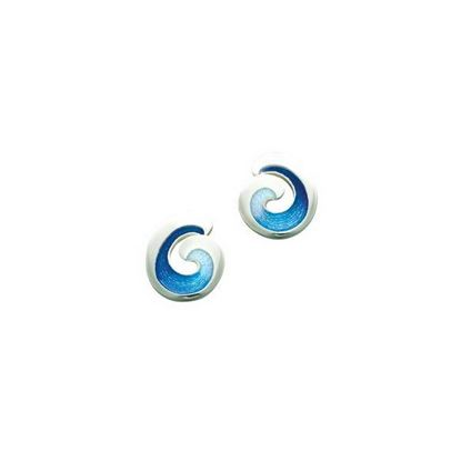 Sheila Fleet - EE135 Wave Earrings (enamel shown in Ocean Light)