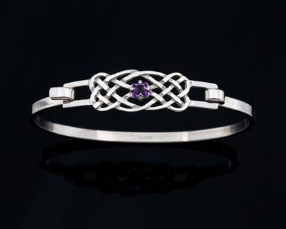 Shetland Jewellery - BA990 Celtic Bangle with Amethyst