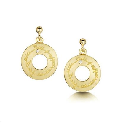 Sheila Fleet - DE99 Diamond Ogham Earrings