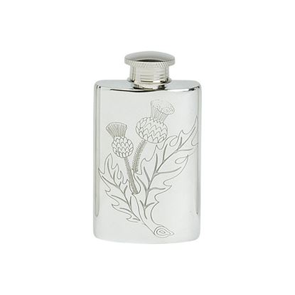 Stamped Thistle Hip Flask - 2oz