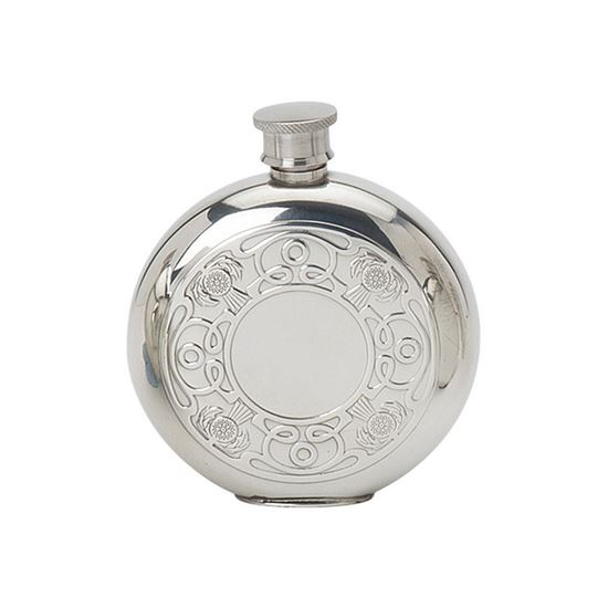 Celtic & Thistle Round Hip Flask - 6oz