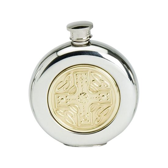 Brass Celtic Cross Hip Flask - 6oz