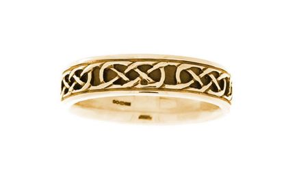 Hebridean Celtic Ring - R120 Plain - 9ct Yellow Gold