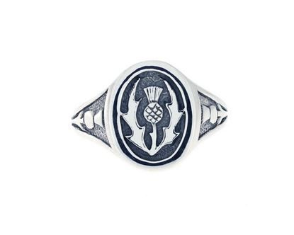 Thistle Signet Ring - Silver