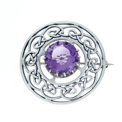 Hebridean - Celtic Stone Brooch - Silver