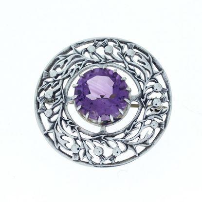 Hebridean - Thistle Stone Brooch - Silver