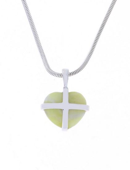 Sellors - Iona Marble Small Cross Heart Pendant