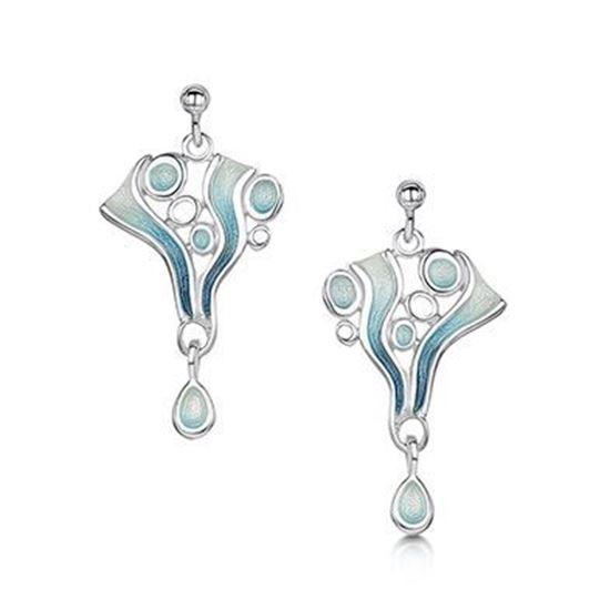 Sheila Fleet - Arctic Stream Earrings (enamel colour shown in Arctic Blue)