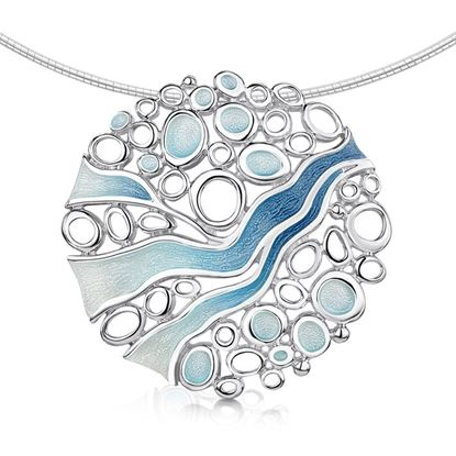 Sheila Fleet - Arctic Stream Necklet (enamel colour shown in Arctic Blue)