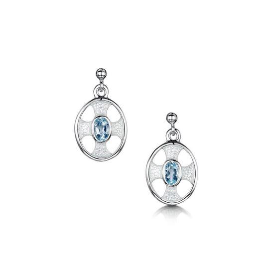 Sheila Fleet - ESE246 (enamel colour shown in Crystal with Blue Topaz)