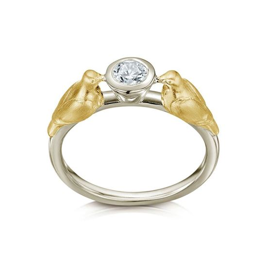 Sheila Fleet - Dove Ring (shown in 9ct Yellow Gold and 9ct White Gold with a Diamond)