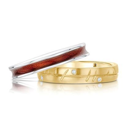 Sheila Fleet - Halo Ring Set (enamel colour shown in  Red, with 9ct Yellow Gold and Diamond)