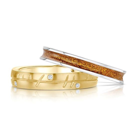 Sheila Fleet - Halo Ring Set (enamel colour shown in Orange, with 9ct Yellow Gold and Diamonds)