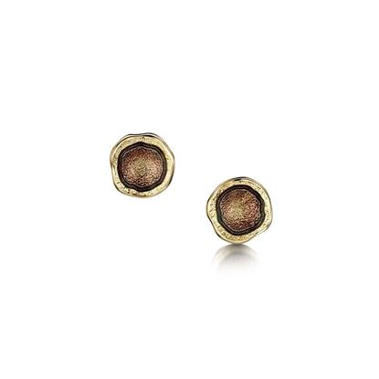 Sheila Fleet - Lunar Earrings (enamel colour shown in Plum on 18ct Yellow Gold)