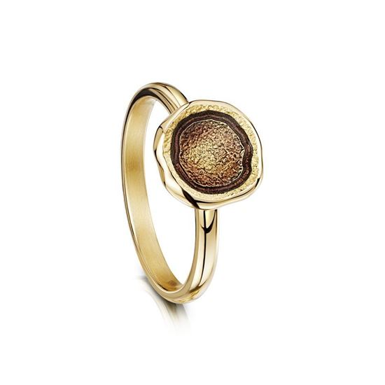 Sheila Fleet - Lunar Ring (enamel colour shown in Plum on 18ct Yellow Gold)