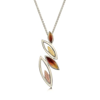 Sheila Fleet - EP265 (shown in 18ct White, Yellow and Rose Gold with Autumn enamel)
