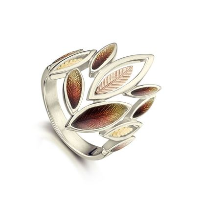 Sheila Fleet - ERX265 (shown in 18ct White, Yellow and Rose Gold with Autumn enamel)